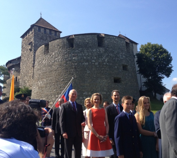 National day 2013 in Liechtenstein. Prince Hans-Adam II, Prince Alois and their wives get ready to party!