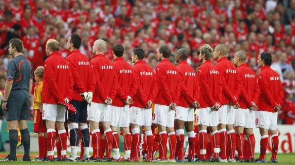 Swiss football team sings Swiss Psalm, the Swiss national anthem
