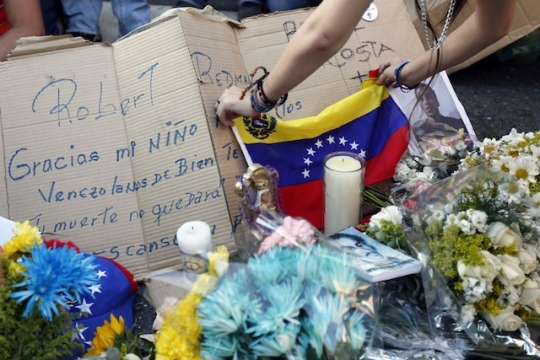 A tribute to a dead protester in Caracas, Venezuela. Copyright is Reuters