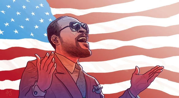 Marvin Gaye singing the Star-Spangled Banner: drawn and copyrighted by PJ Mcquade, who you can find here http://pjmcquade.com/