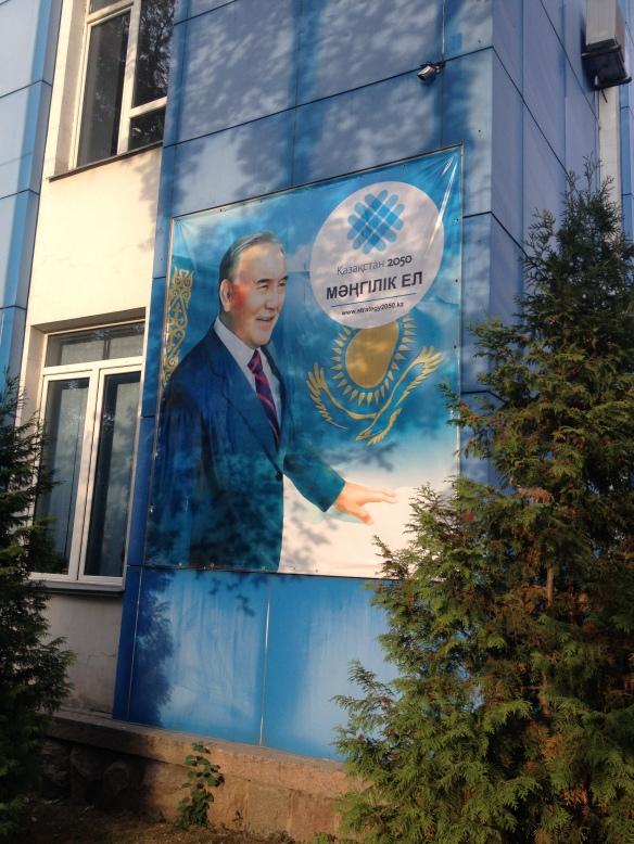 Poster of Nursultan Nazarbayev, Kazakhstan's president, on an apartment block