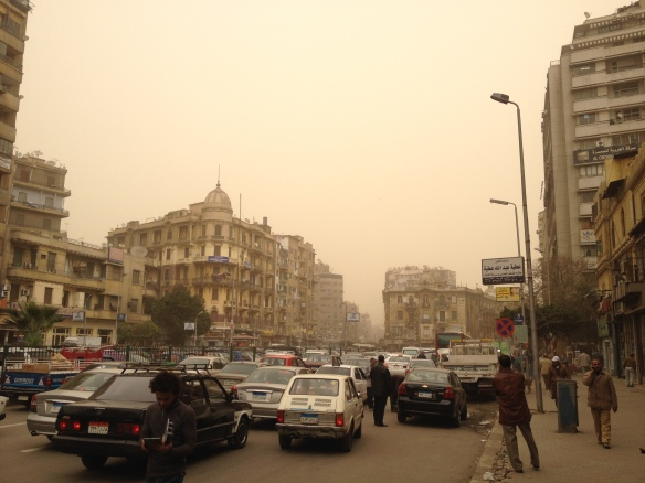 What Cairo looks like in a dust storm (a bit more representative than the picture of the pyramids I was tempted to use!)