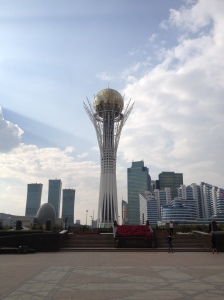 The Bayterek tower in Astana, supposedly representing the 'bird of happiness's' golden egg sitting in the 'tree of life'