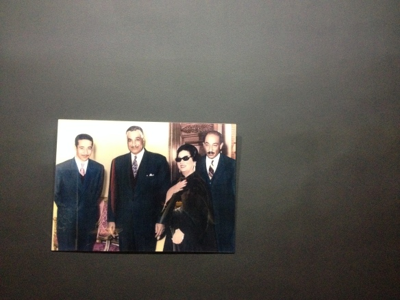 Umm Kulthum shows off her political credentials, and trademarks shades, in a photo featuring both Presidents Nasser (to her right) and Sadat (to her left). Badly taken in her museum in Cairo, which is thoroughly worth a visit