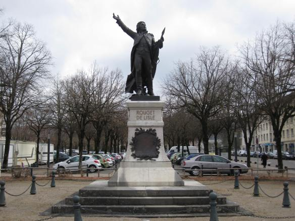 The dashing Rouget de Lisle statue in his hometown of Lons-le-Saunier, France