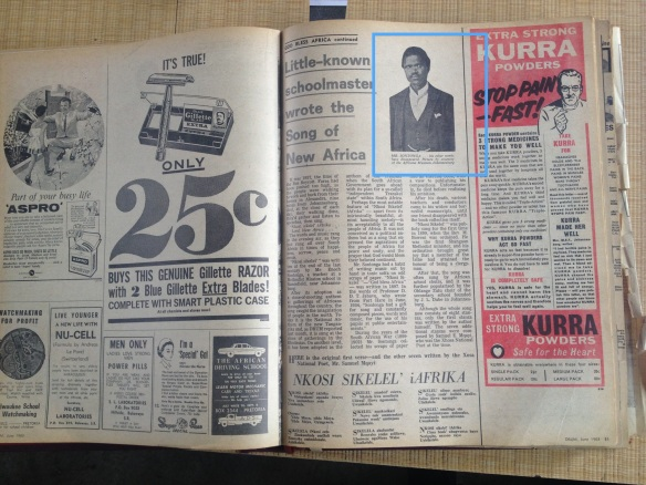 Enoch Sontonga as featured in the trendy Drum magazine in June 1963. It's covered promised 'The story of Nkosi Sikelel'' showing its importance at that time