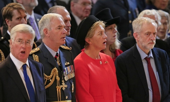 Corbyn not singing the national anthem