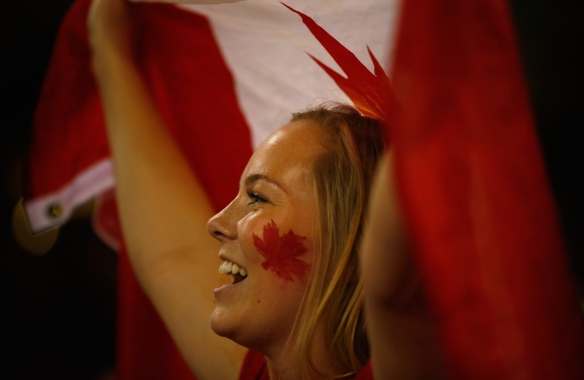 A Canadian woman with a flag. What's not to like?!?