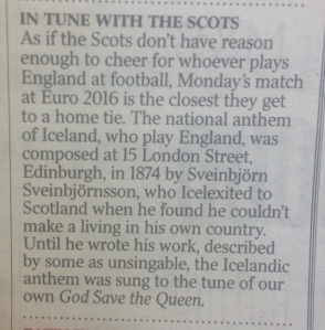 Times snippet on Iceland's anthem