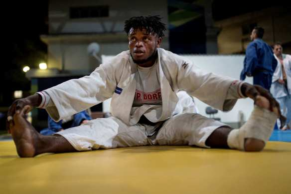 Popole Misenga, one of the Team Refugee's judoka. He's originally from the Democratic Republic of the Congo where, due to the war, his mother was murdered and he had to flee to the rainforest alone