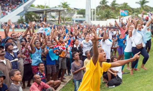 Fijians celebrating their country's first-ever gold in their capital, Suva. Stolen - quite blatantly - from Feroz Khalil of AFP and Getty Images. So I really should give a credit