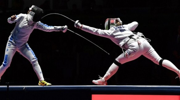 Emese Szász stabbing - is that the right term? - Italian Rossella Fiamingo to win gold in the épée