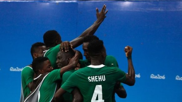 Nigerian football team at Rio celebrating