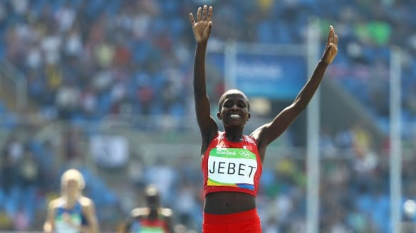 Ruth Jebet wins the steeplechase at the Rio Olympics
