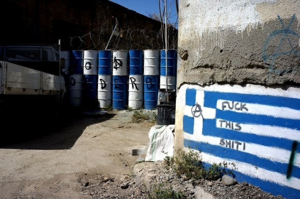 Part of the border wall separating Greek from Turkish Cyprus. The graffiti sums up what a lot of people think